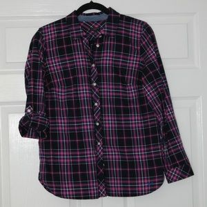 purple and black plaid button up